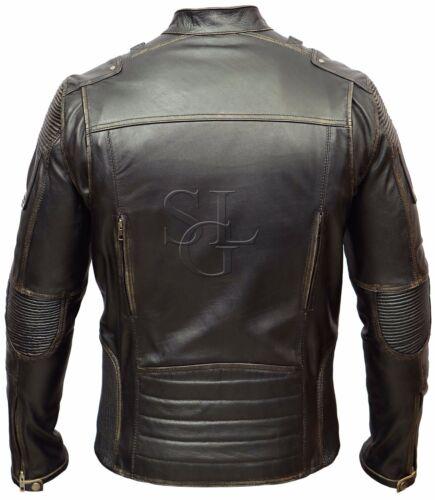 Motorcycle Racer Biker Leather Jacket Style Distressed Mens Cafe Vintage FSXx5Pt