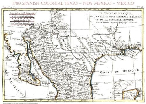 "16/"" x 20/"" 1780 Early Texas Spanish~Mexican Map~Bonne~Print"