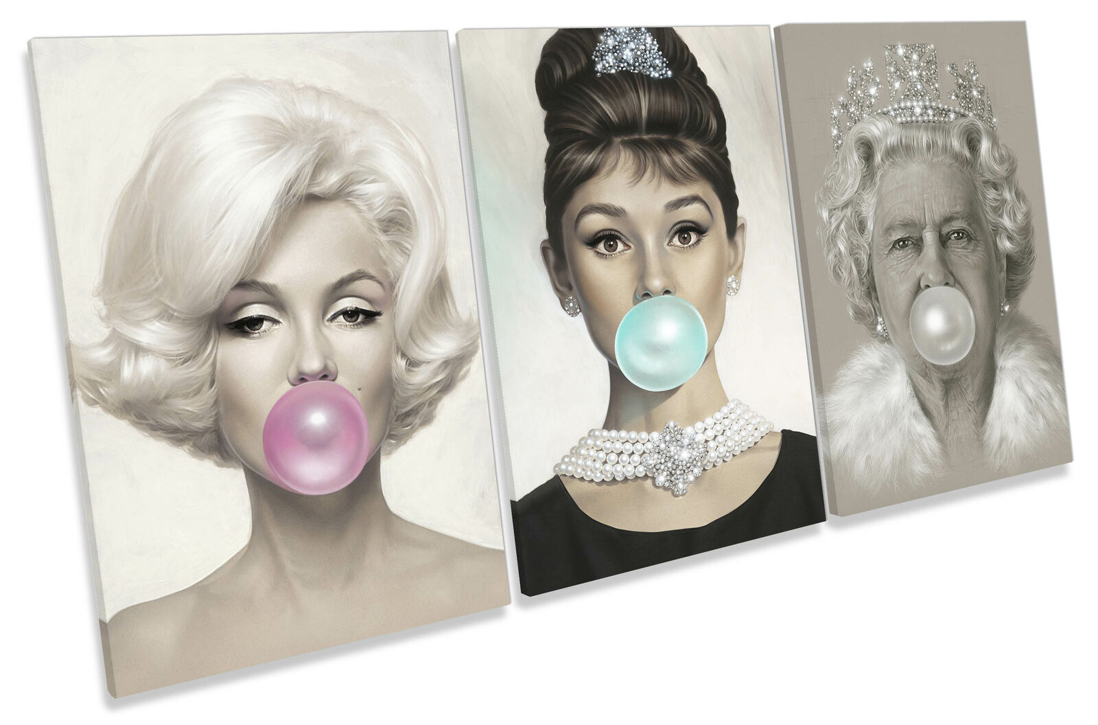 Audrey Hepburn, Marilyn Monroe, Königin Bubble Gum CANVAS Wand Kunst Set Treble