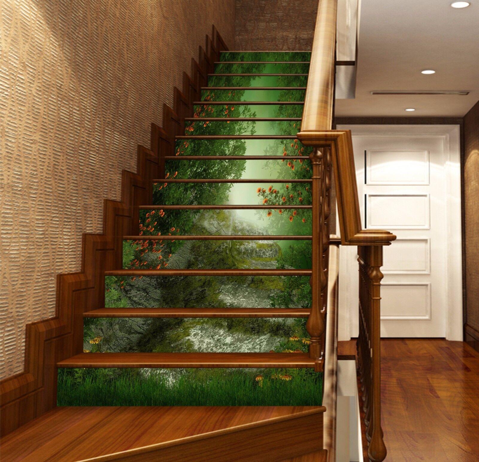 3D Wald Pflanze 785 Stair Risers Dekoration Fototapete Vinyl Aufkleber Tapete DE