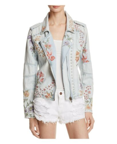"Blank Ny C  ""Sitting Pretty Denim  Embroidered Floral Moto Denim Jacket Small New by Blank Ny C Blank Nyc"