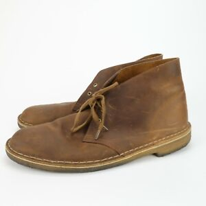 Clarks Originals Brown Leather Crepe Sole Chukka Desert Ankle Boot Mens Size 12