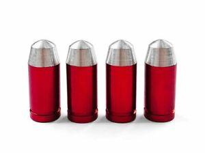 4-bouchons-de-valve-en-aluminium-balle-munition-Couleur-rouge-Auto-Moto