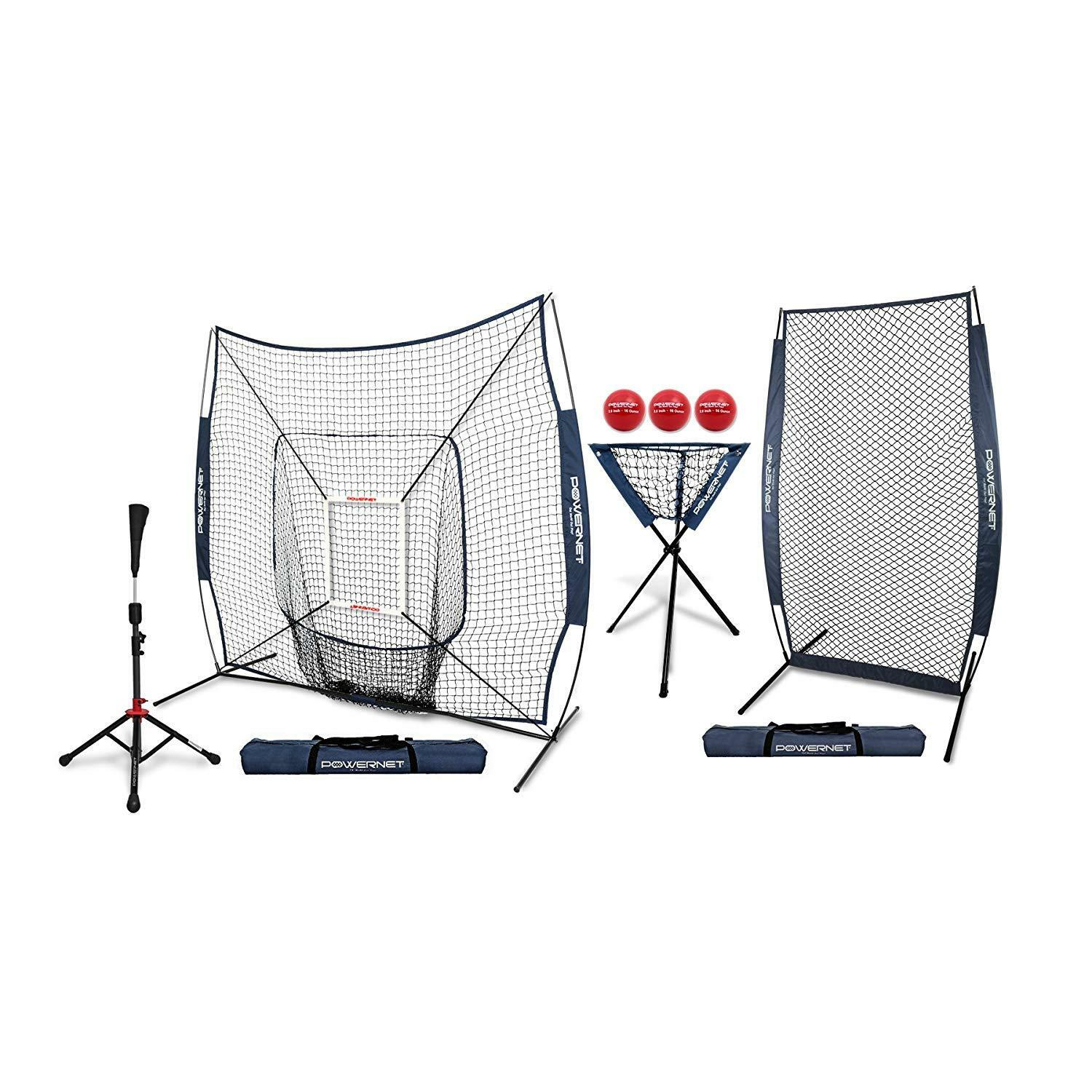 PowerNet DLX All All All in One Net Baseball Bundle w Tee, Ball Caddy, I-Screen and More 56e5d8