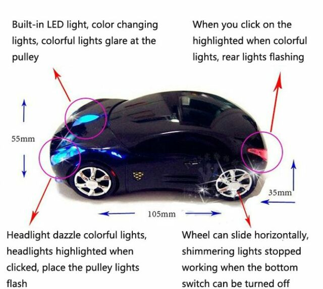 Wireless Car Shaped Mouse Mice USB With Colorful Flash Black 1600dpi