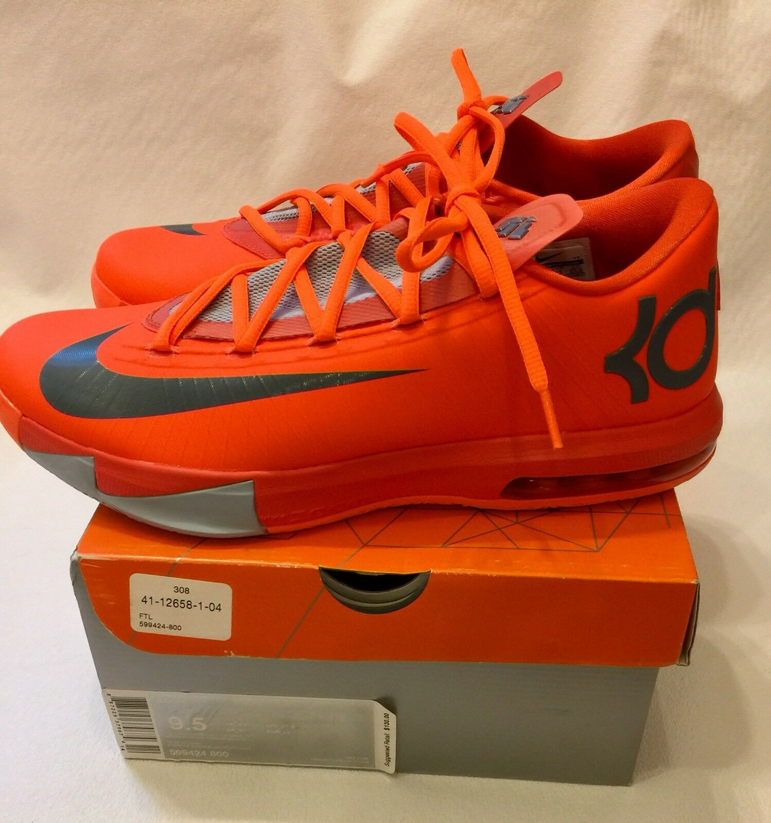 Nike KD 6 VI Kevin Durant Total Orange 599424-800 US 9.5