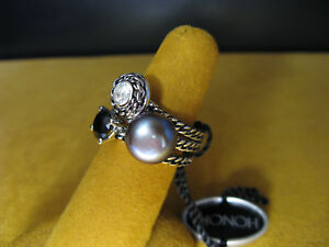 PEARL-HONORA-STACK-RING-SET-WHITE-TOPAZ-BLACK-ONYX-SIZE-8-SILVER-SS-ROPE-Gift