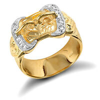 Buckle Ring Men's Gold Buckle Ring Very Heavy Solid Yellow Gold Ring Gents Ring