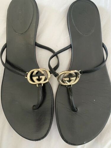 Gucci GG Black Leather Thong Sandal