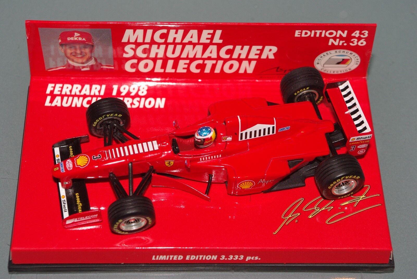 Offre festive de la nuit du carnaval de Noël à à à Noël Minichamps F1 1/43 FERRARI 1998 Launch version-Michael Schumacher | De Haute Qualité Et Peu Coûteux  acadc6