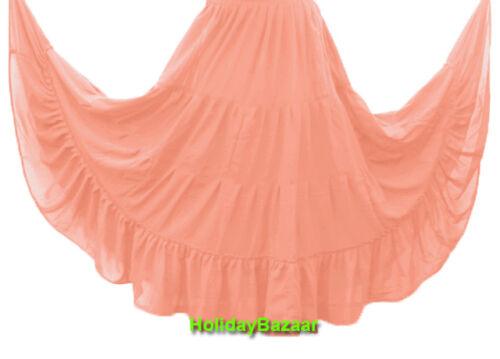 Women Chiffon Tiered Skirt Maxi Belly Dance Gypsy Flamenco Tribal Jupe 4 Tier