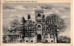 1956-SENECA-Kansas-Kans-Ks-Postcard-PUBLIC-HIGH-SCHOOL-K284