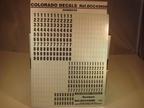 DECALS 1//43 NUMÉROS NOIRS ET BLANCS COLORADO  43008