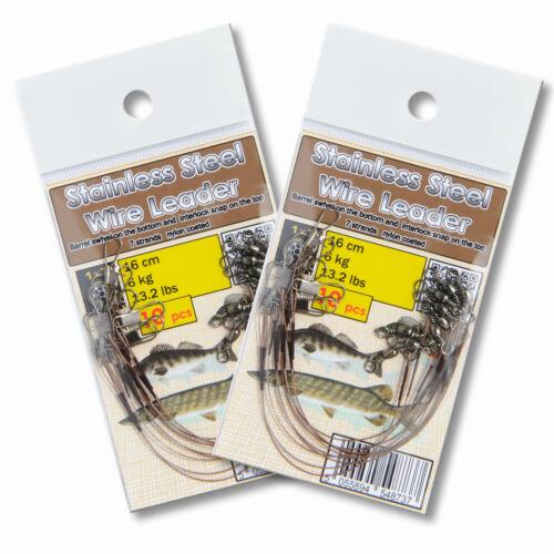 Trace wire leader 16cm 13lb 6kg coated sandre agrès de pêche drop shot
