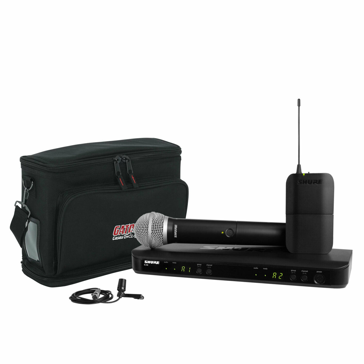 Shure BLX1288 CVL Dual-Channel Handheld & Wireless Mic System mit Carry Bag