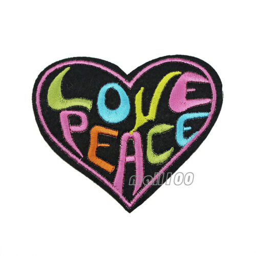 Colourful Love Peace Biker Iron On Sew on Badge Applique Patch Sewing Black