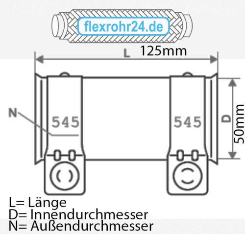 Auspuff Rohrverbinder Ø 60x64x125 mm VW Audi Seat