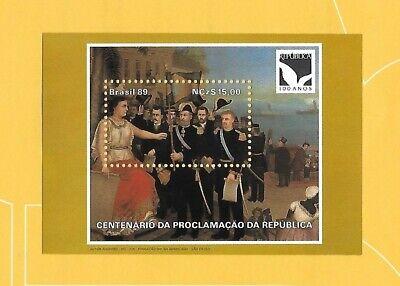 """Clever Brasilien 1989 - Postfrisch**mnh - Minr. Block 81 """"100 Jahre Republik - Gemälde"""""""