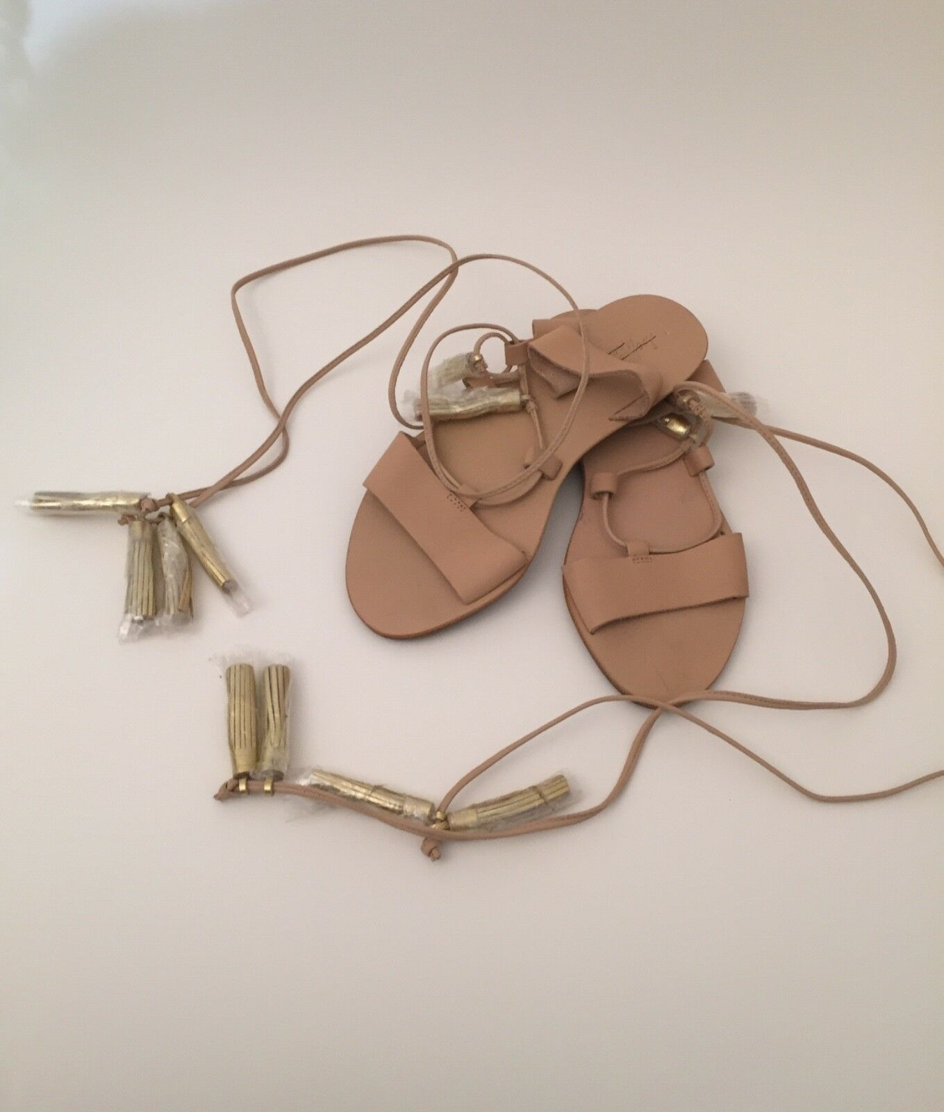 Loeffler Randall Saffron Tassel Lace Up Sandales Sandales Sandales Gold - Sz 6 38e942