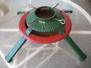 Vintage Christmas Tree Stand.Details About Vintage Christmas Tree Stand Red And Green Metal 21 Square
