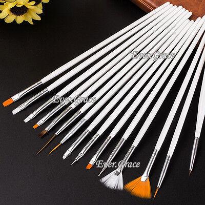 15pc Nail Art UV Gel Design Brush Set Painting Pen Manicure Tips Decoration Tool