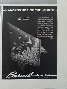 1938-Burmel-Rondelle-Vintage-Floral-Panuelo-de-la-Mes-Vintage-Anuncio