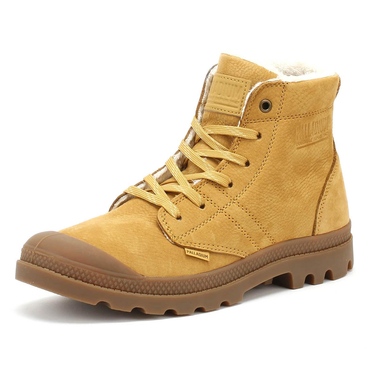 Palladium Pallabrousse Leather S Mens Boots Beige Lace Up Warm Winter shoes