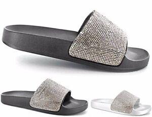 6af6489b08d0 Women Ladies Ella Sliders Mules Sandals Slip On Glitter Flip Flop UK ...