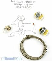 les paul wiring kit made cts pots luxe bumblebee wiring kit for gibsonacircreg les paul sg jr complete w diagram cts pots switchcraft