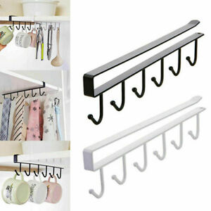 6-Hooks-Cup-Holder-Hang-Kitchen-Cabinet-Under-Shelf-Storage-Organiser-Hook