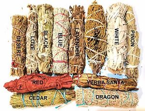 LOT of 42 Sage Smudge Stick SAMPLER Red, Cedar, Lavender, Love, White, Blue