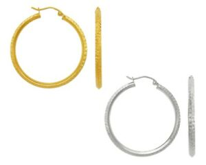 14K-Solid-Yellow-White-Gold-Italy-Tube-Hoops-Women-DC-Fashion-Hoop-Earrings