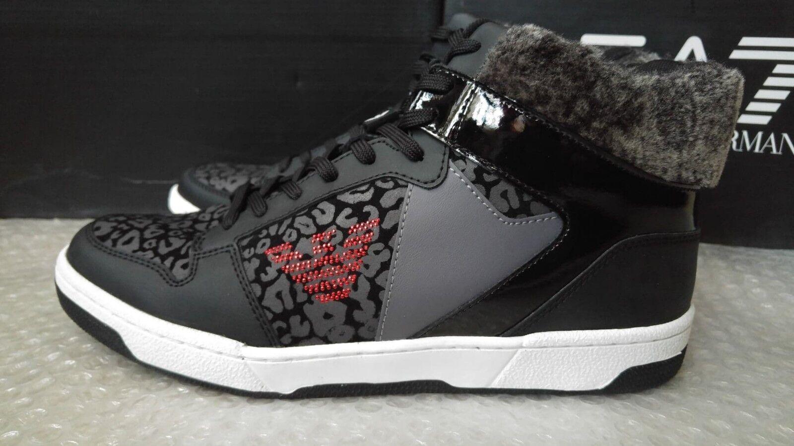 Emporio Armani EA7 womens high-top faux fur sneakers size 7.5UK(41 1 3 EU)