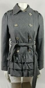 EXPRESS-Silver-Button-gray-Double-Breasted-Fit-amp-Flare-Wool-Blend-Coat-Sz-Small