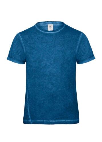 T-Shirt Maniche Corte Uomo Maglietta Cotone Effetto Vintage B/&C Denim Plug In