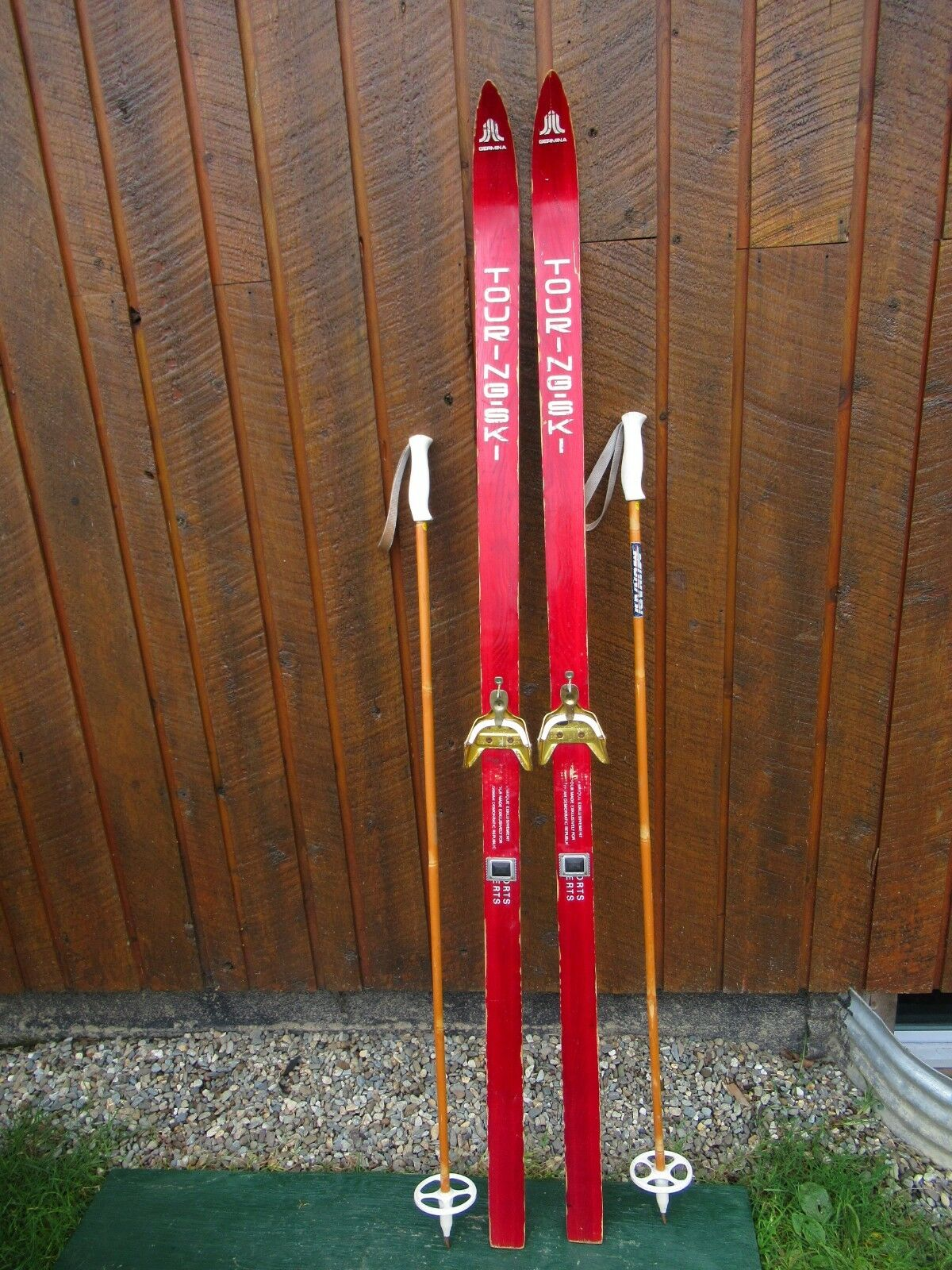 VINTAGE Wooden 69  Skis with blueE Finish + Signed TOURING SKI + Metal Bindings