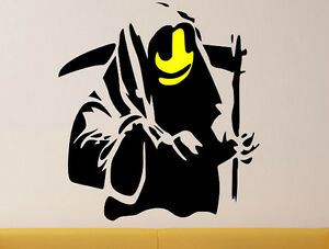 Image Is Loading Banksy Graffiti Grim Reaper Death Art Wall Stickers