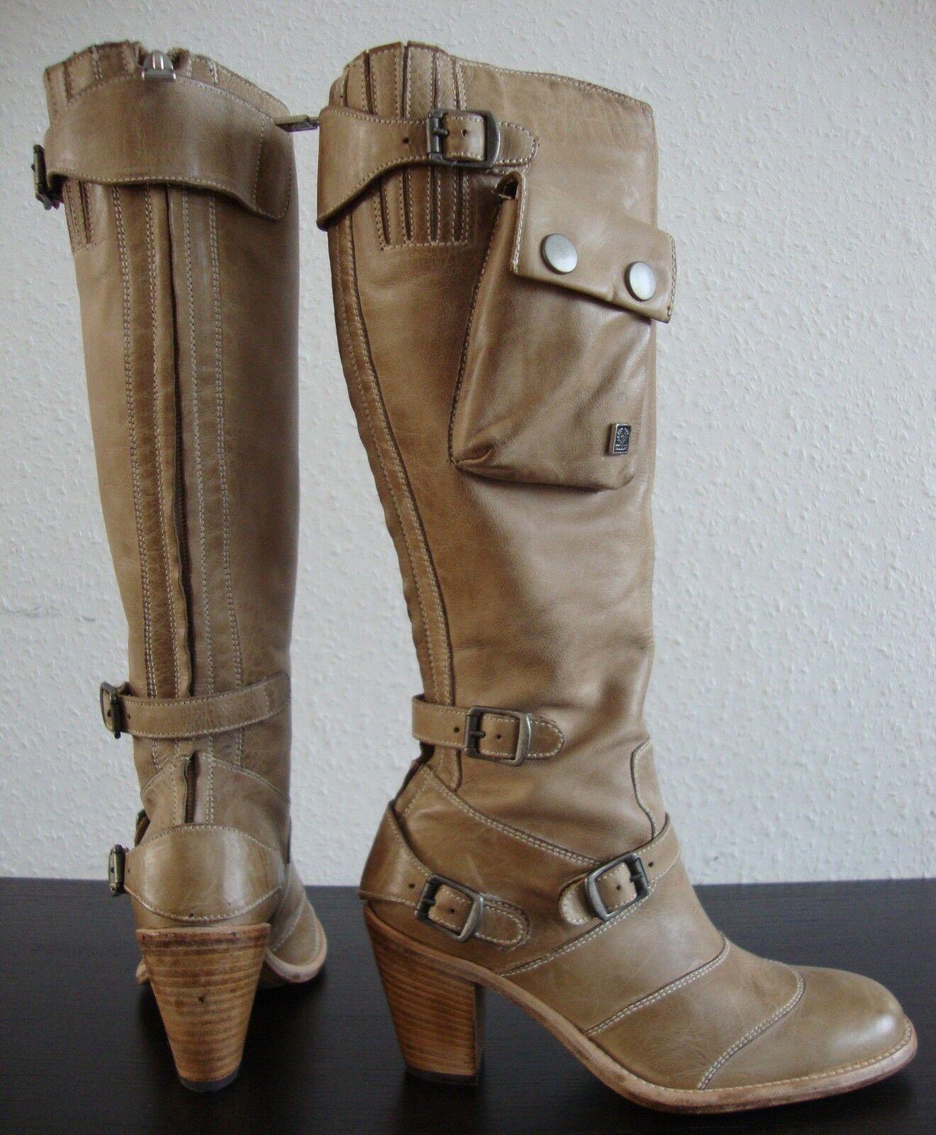 BELSTAFF NAKEDMASTER 1955 H H ANTIQUE NATURAL Stiefel Damen Leder Stiefel Gr36 NEU
