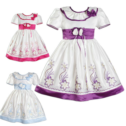 New Flower Girl Party Bridesmaid Wedding Pageant Dress in 3 Colours From 9 M-3 Y