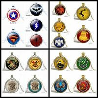 Game of Thrones Harry Potter America Super Man Glass Pendant Chain Necklace
