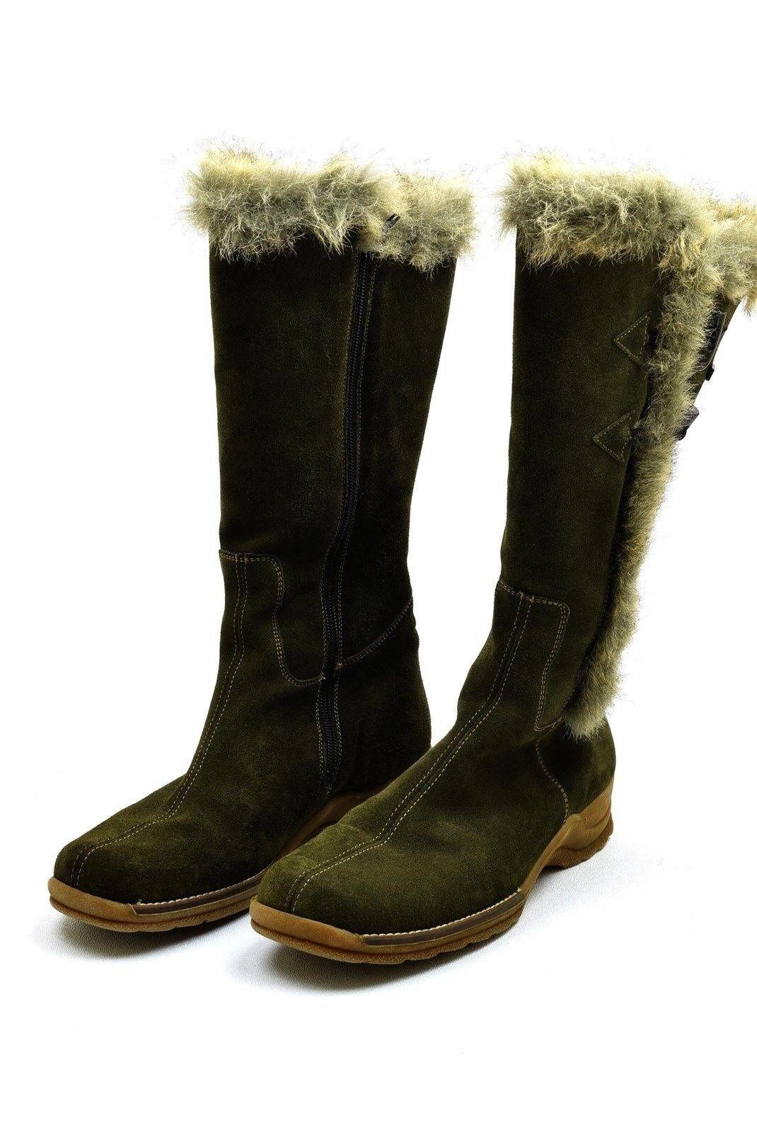 Rieker verde Suede Tall Winter stivali Faux Fur Dimensione 40 Dimensione 9