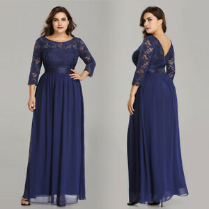 Details about Ever-Pretty US Plus Size Evening Dress Lace Sleeve Bridesmaid  Dresses Navy Blue