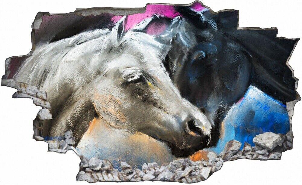 Dipinto cavallo bianco e nero Amore Muro Tatuaggio Parete Adesivo Parete Adesivo c1731