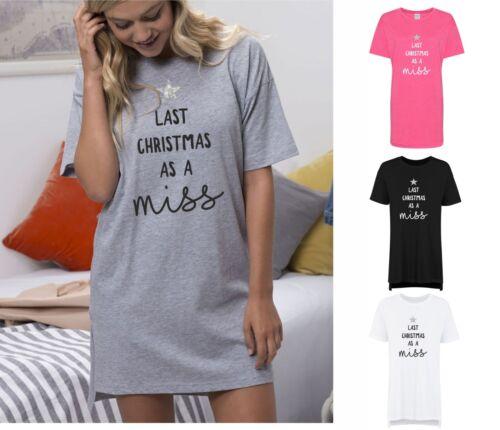 Noël dernier comme Miss femme oversize sommeil shirt Nuisette mariée no Yr