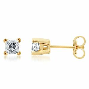 Solid-14k-Yellow-Gold-Princess-Cut-Diamond-Solitaire-Studs-Earrings-1ct