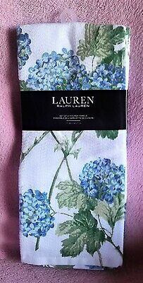 Nwt Ralph Lauren Kitchen Towel Set Blue Hydrangea Floral Terry Cloth Backing Ebay