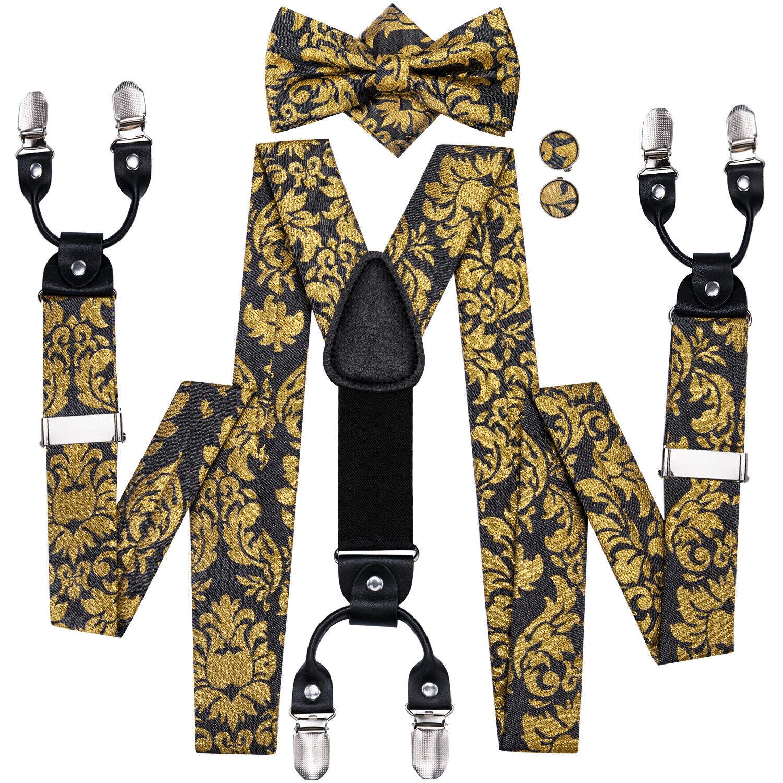 Silk Mens Floral Suspenders Set Unisex Gold Black Braces Adjustable Y Back Belts