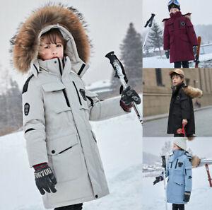 Kinder Mädchen Winter Pelz Kapuze Hoodie Mantel Parka Stepp Jacke Trench Coat