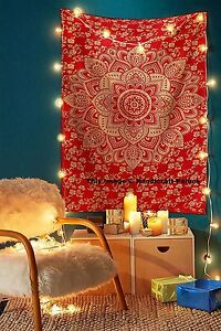Large-Indian-Tapestry-Wall-Hanging-Mandala-Decor-Hippie-Ombre-Red-Gold-Bedspread