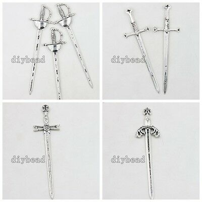 10/50x Vintage Silver Alloy Sword Charm Jewelry Components Findings Four Style D